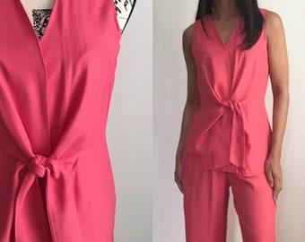 1990s Pantsuit, Vintage Pink Suit, Sleeveless Pantsuit, 90s Pantsuit, Vintage Spring Summer Pantsuit