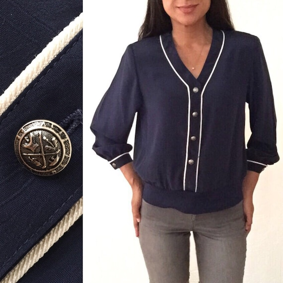 Dark Blue Banded Bottom Blouse With White Piping Details 90s Etsy