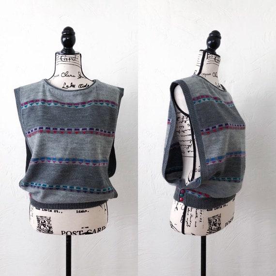 Gitano 1990s Open Arm Knot Sweater Vest, Vintage Gray Multicolored Sweater Vest, Vintage Knit Vest, 1990s Gray Sweater Vest