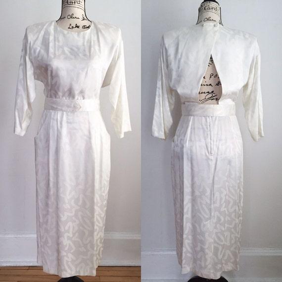 1980s Pencil Dress With Cutout Vintage Dress 1980s Dress