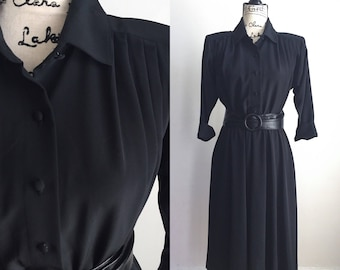 Vintage Black Midi Dress, Black Midi Dress, Vintage Career Dress, 80s Black Dress