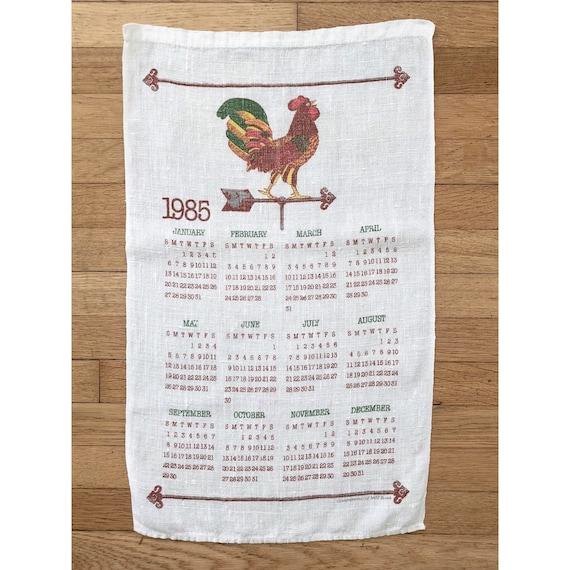 1985 Calendar Rooster Kitchen Towel Vintage Kitchen Towel Etsy