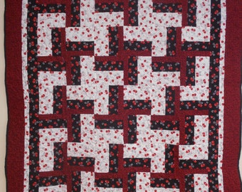 """Quilt, Handmade Throw Quilt, Cherry Twist Quilted Throw, Youth Quilt, Red and Black Quilt, 46"""" x 58"""""""
