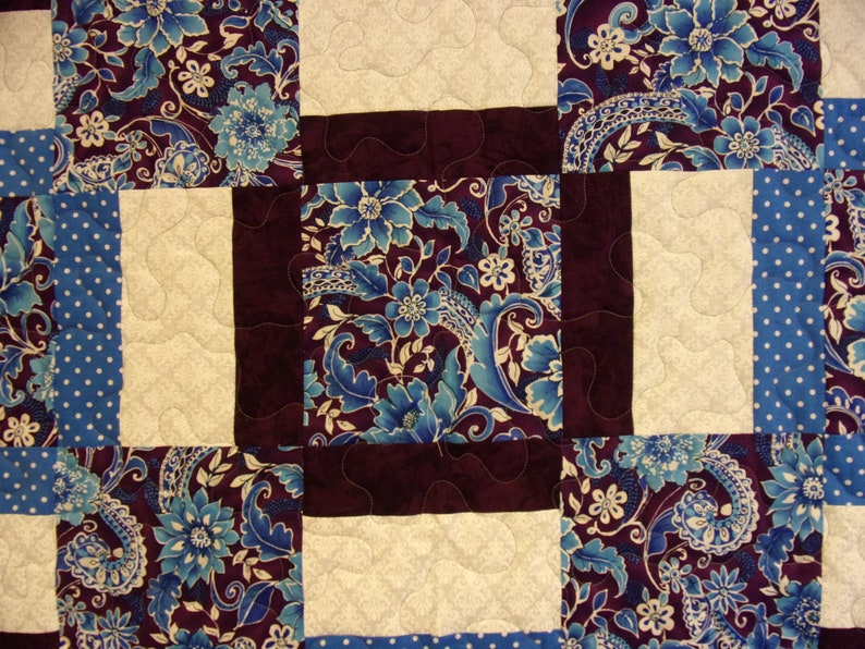 Blue and Purple Queen Size Quilt 79 x 92 Queen Size Multiple Square Blue and Purple Quilt
