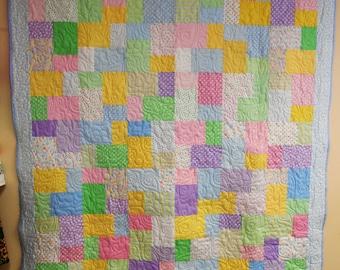 """Quilt, Twin Size Quilt, Twin Size Bed Quilt, Basic Pastel Quilt, Pastel Patchwork Quilt 61"""" x 70"""""""