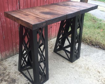 Industrial Table, entry way, sofa table, barnwood table, rustic table, craftsman table, farmhouse table