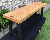 White Oak Iron Frame Bench