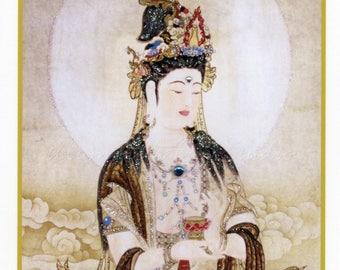 Goddess Kuan Yin, Hand-Embellished Card