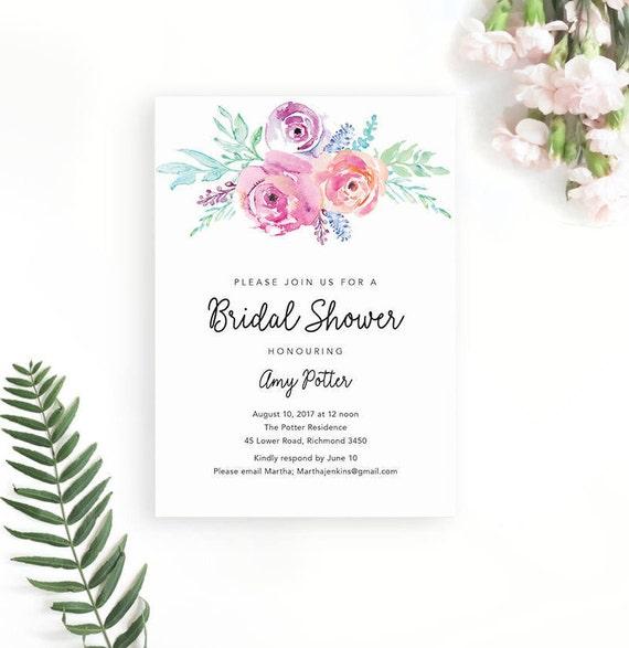 photo regarding Etsy Printable Invitations named Bridal Shower Invitation / Printable Invites / Bridal Shower Invite / Floral Bridal Shower / Invitation Template / Printable Invitations