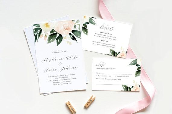 Blush And Ivory Wedding Invitations: Printable Wedding Invitation / Blush And Ivory Wedding