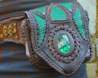 LEATHER BELT BAG with malachite and green lizard skin