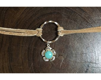 Floral Turquoise and 925 Sterling Silver Suede Tie-back Choker Necklace