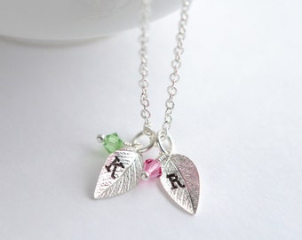 Initial Leaf Necklace with Birthstone Crystals, Family Tree Silver, Birthstone Necklace, Personalized Jewelry for Mom, Mothers Day Necklace