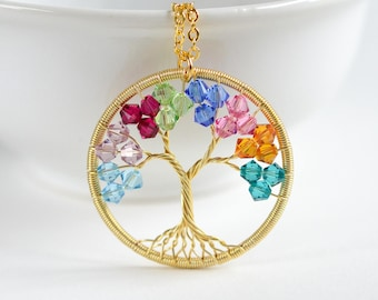 Gold Family Tree Necklace, Christmas Gift from Kids, Wife Christmas Gift, Mother of the Bride Gift, Grandma Gift, Birthstone Tree Necklace