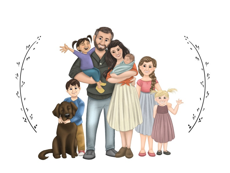Custom Drawing Family Portrait