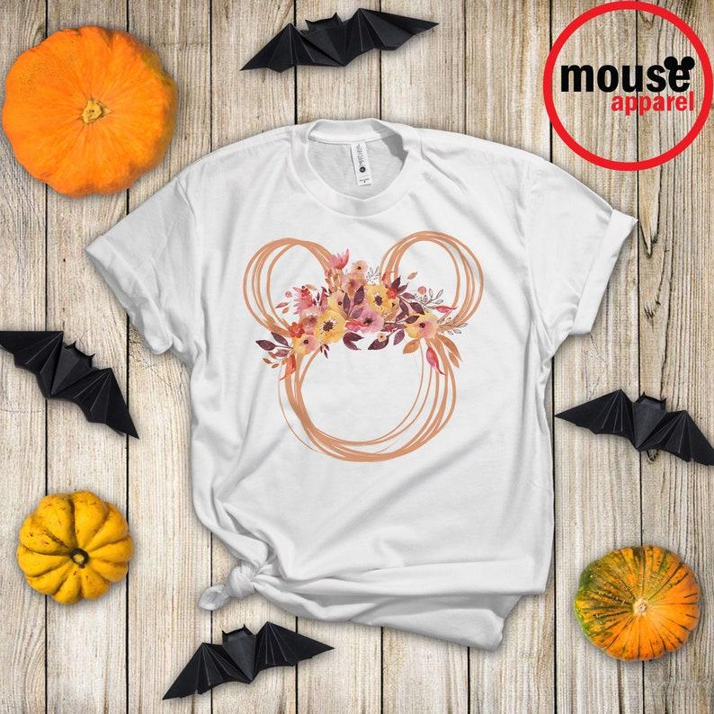 Minnie Fall Ears Halloween Unisex Shirt Minnie Fall Floral White