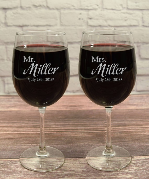 His And Hers Wine Mr And Mrs Wine Personalized Wine Glass Etsy