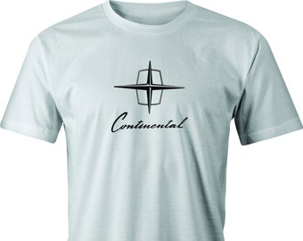 Vintage Lincoln Continental Logo  print on T shirt.  Free Shipping