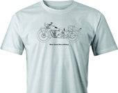 Vintage Moto Guzzi Motorcycle Drawing Printed on Men 39 s T shirt. Free Shipping