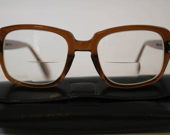 4530b82747 ROMCO Brown Designer Eyeglasses Frames ~ 60s 70s Military Frames ~ Vintage  4 3 4 - 6 in Very Good Condition w  Case - Prescription Glasses
