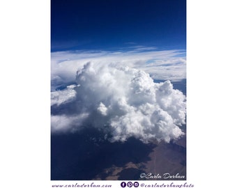 White Clouds and Blue Sky Digital Print, Instant Download | Aerial Photography, Printable Wall Art, Vertical Poster, Home Decor, Celestial
