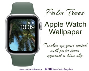 Palm Trees: Apple Watch Face Wallpaper | Instant Digital Download, Miami Beach Florida, Travel Photography, Blue Skies, Jewelry Accessories