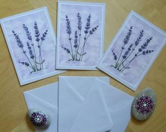 Cards 3rd setflowers  lavender watercolorpainting print