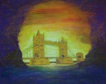 Tower - bridge in the dream original acrylic painting