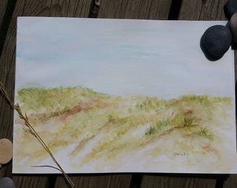 Hvide Sande, Denmark, Original Watercolorpainting in Passe-partout