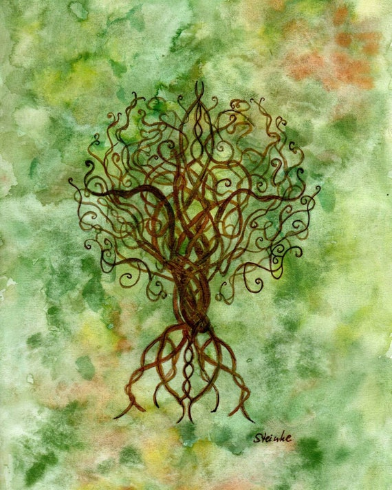 Celtic Tree Of Life Original Watercolor Etsy
