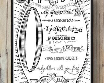 Illustration print typography poster