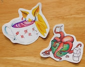 Bat and Octopus Tea Time Stickers