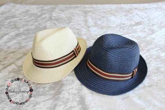 Kids Fedora Blue Boys Fedora Ivory Boys Hat Beach Hat  c93db564871
