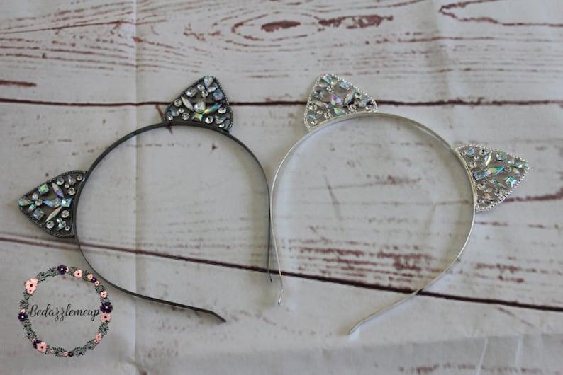 8659ebfa9 Crystal Cat Ears Headband Crown Headband Metal Kitten Ears | Etsy