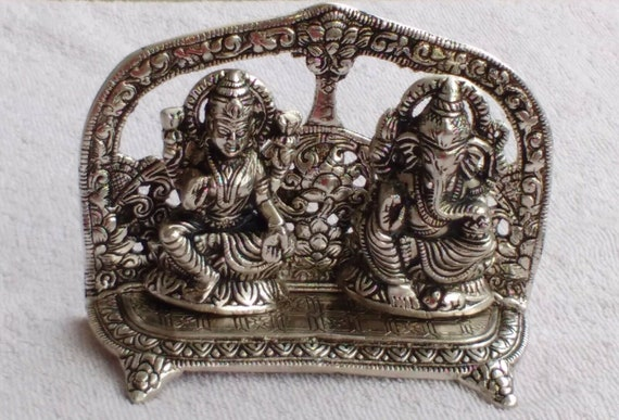 Hindu God Laxmi Ganesh Idol Statue Sclupture White Metal Best Etsy