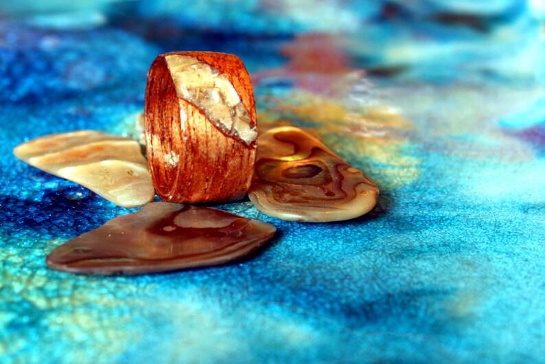 Mahogany wood ring with Abalone Shell inlay