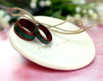 Set of Two - Mahogany wood rings with Malachite stone inlay