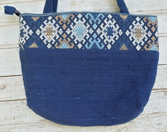 Indigo Blue Cotton Shoulder Bag / Made in Laos / Hand-spun cotton / Natural dyes / Hand-woven