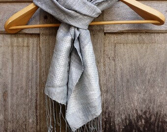 Elegant Grey Silk Scarf / Made in Laos / Hand-woven / Hand-spun silk / Natural dyes