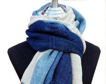 Shade of Indigo Blue_Handwoven cotton scarf