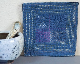 Assorted Blue Cotton Coasters / Made in Laos/ Set of 4 / Japanese Inspired / Sashiko Hand stitched
