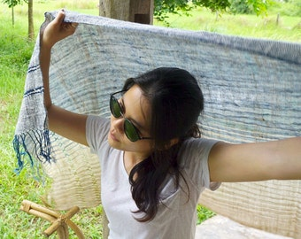 Pure natural cotton shawl and wrap / Hand spun cotton / Natural dye cotton / Hand woven