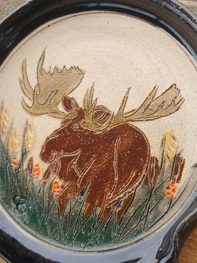 Moose bull handmade stoneware pottery spoonrest free shipping