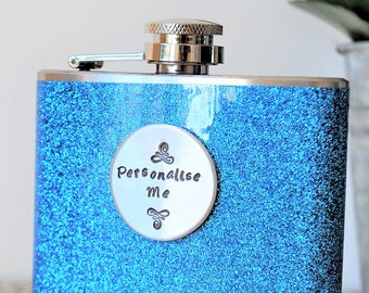 GLITTER Turquoise PERSONALISED Hip Flask