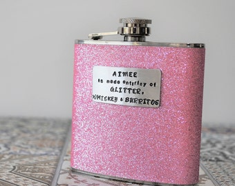 Favourite Things PERSONALISED Glitter Hip Flask