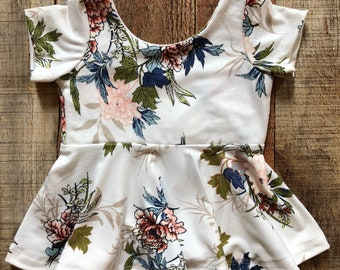 White Floral Peplum Top Girls 6 months to 4T