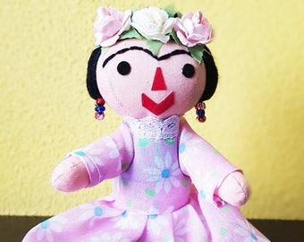 Frida Kahlo Doll,  mexican rag doll, otomi doll, Mexican doll, handmade doll, cloth doll, Nursery decor, toy children, mexico decor folk art