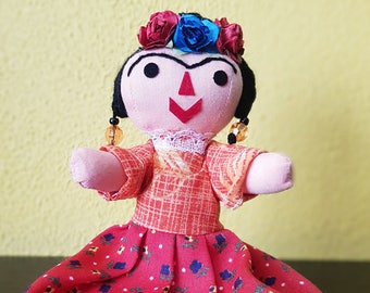 Frida Kahlo Doll,  mexican rag doll, otomi doll, Mexican doll, cloth doll, handmade doll, Nursery decor, toy children, mexico decor folk art