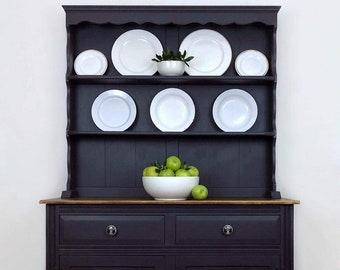Rustic Ash Grey Dresser Painted Welsh Vintage Dining Room Display Sideboard China Cabinet Kitchen Storage