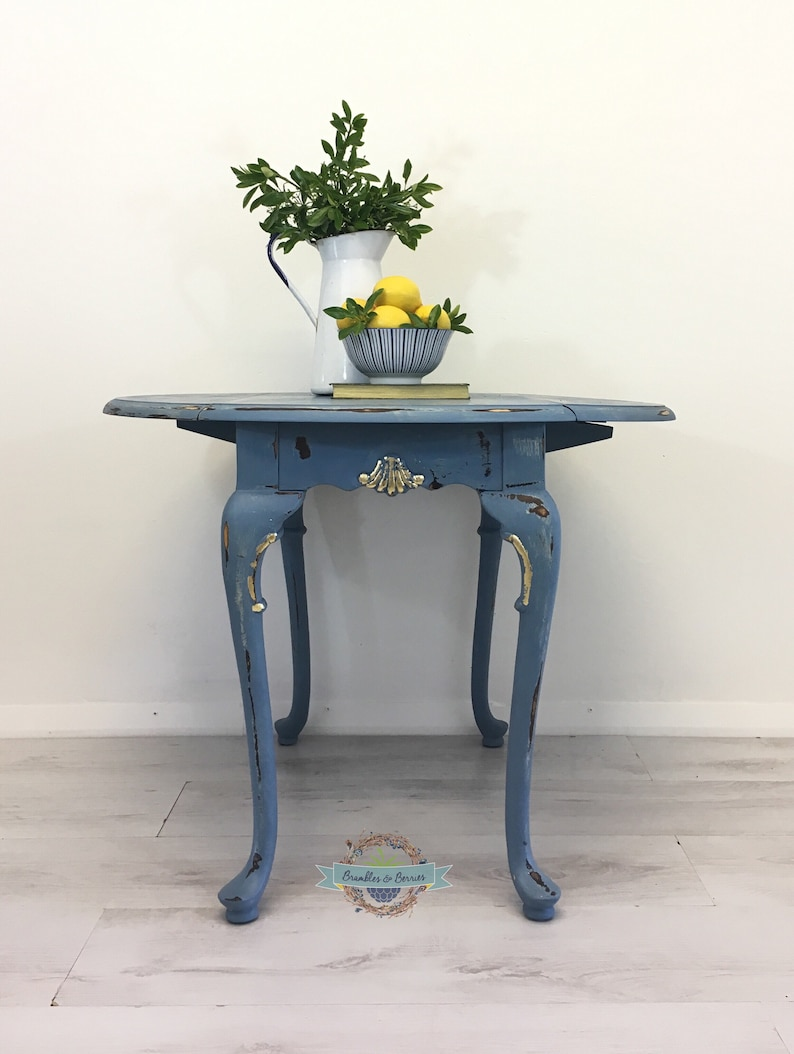Vintage Blue Gold Coffee Table Side Table Lamp Table Etsy